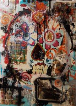 30x40 canvas Medium- Acrylics/Oil Bars/Spray Paint/Newspaper